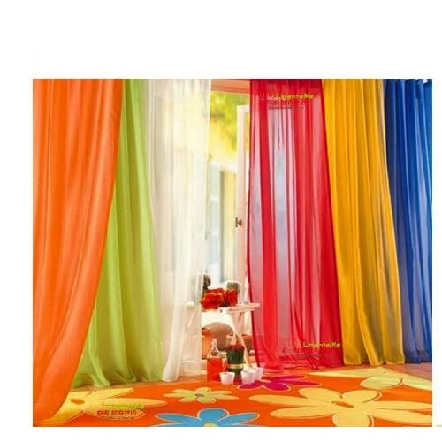 6 Piece Rainbow Sheer Window Panel, Sheer Orange Curtains
