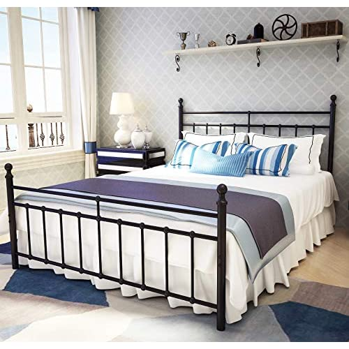 Metal Bed Frame Queen Size With, Black Iron Bed Queen