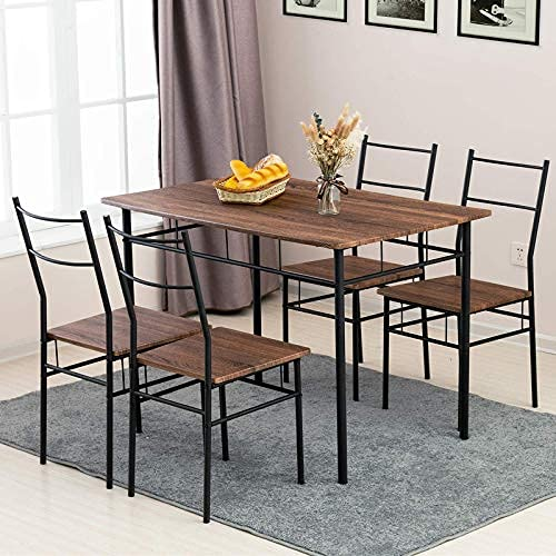 Mecor 5 Piece Dining Table Chairs, Metal Dining Room Chairs
