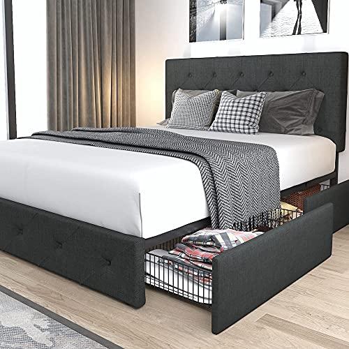 Allewie Queen Platform Bed Frame, Allewie Queen Platform Bed Frame With 4 Drawers Storage