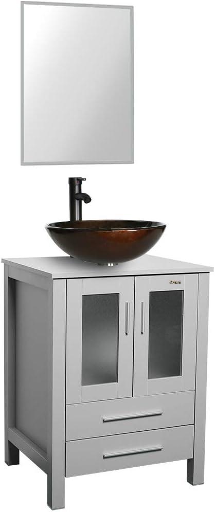 24 Grey Bathroom Vanity Tempered, 30 White Bathroom Vanity With Top
