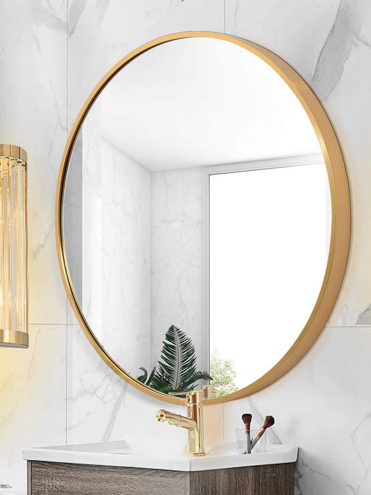 Round Mirror Wall Mounted Large, Round Mirror Wall Decor Wood
