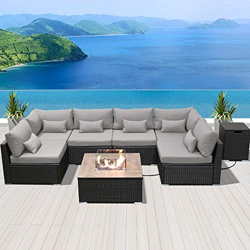 Dineli Patio Furniture Sectional Sofa, Outdoor Furniture With Gas Fire Pit Table