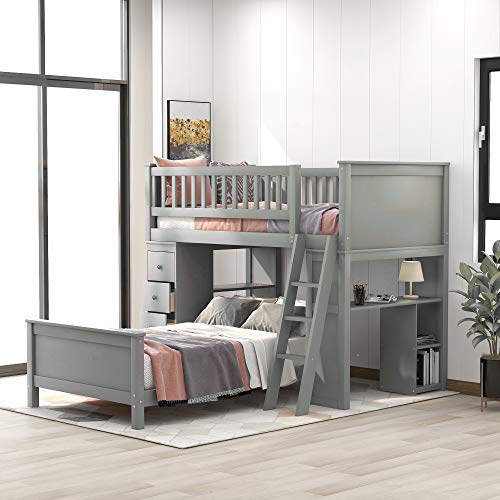 Softsea L Shaped Bunk Bed Twin, Loft Bed With Drawers And Desk