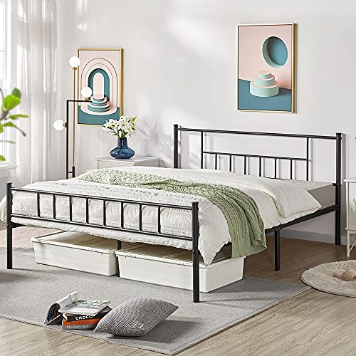 Footboard Platform Bed Frame With, Queen Metal Bed Frame With Headboard No Footboard