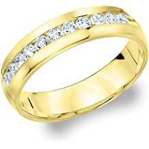 MEN/'S 10K YELLOW GOLD OVER STERLING SILVER .50CT GENUINE DIAMOND PINKY RING BAND