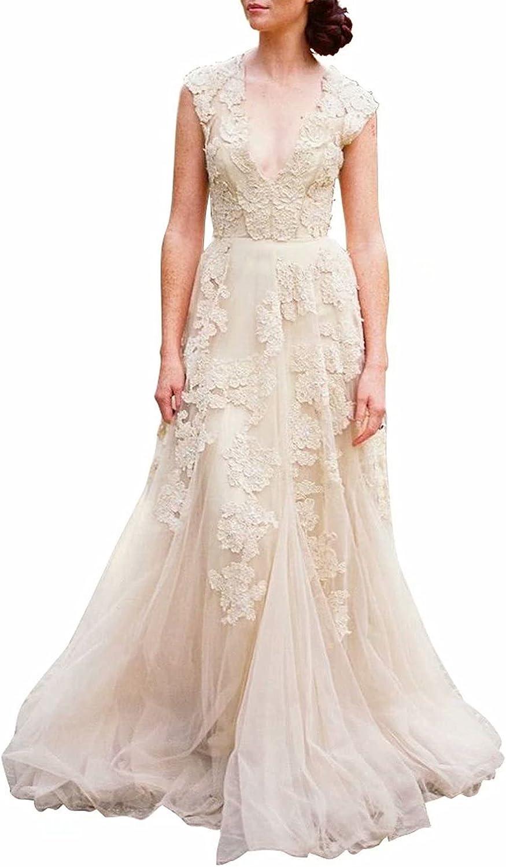 Buy Ruolai Women's Vintage Wedding Dress Cap Sleeves Lace Bridal ...