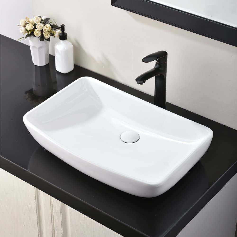 Buy Hotis White Round Above Counter Porcelain Ceramic Bathroom Countertop Bowl Lavatory Vanity Vessel Sink Online In Indonesia B07vldclw7