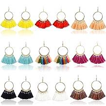 9 Pairs Tassel Hoop Earrings for Women Colorful Fan Shape Drop Earrings Statement Earrings for Women Girls Daily Wear Fashion Jewelry Valentine .