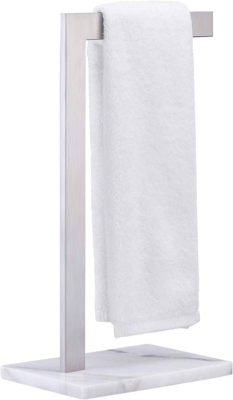 Kes Hand Towel Rack With Marble, Bathroom Countertop Towel Stand