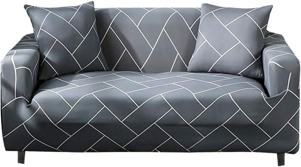Hotniu Stretch Sofa Covers Printed, Light Grey Sofa Slipcover