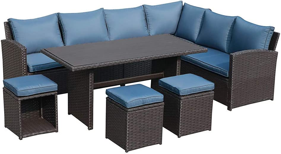 Joivi Patio Furniture Set 7 Piece, Outdoor Sectional Couch With Dining Table