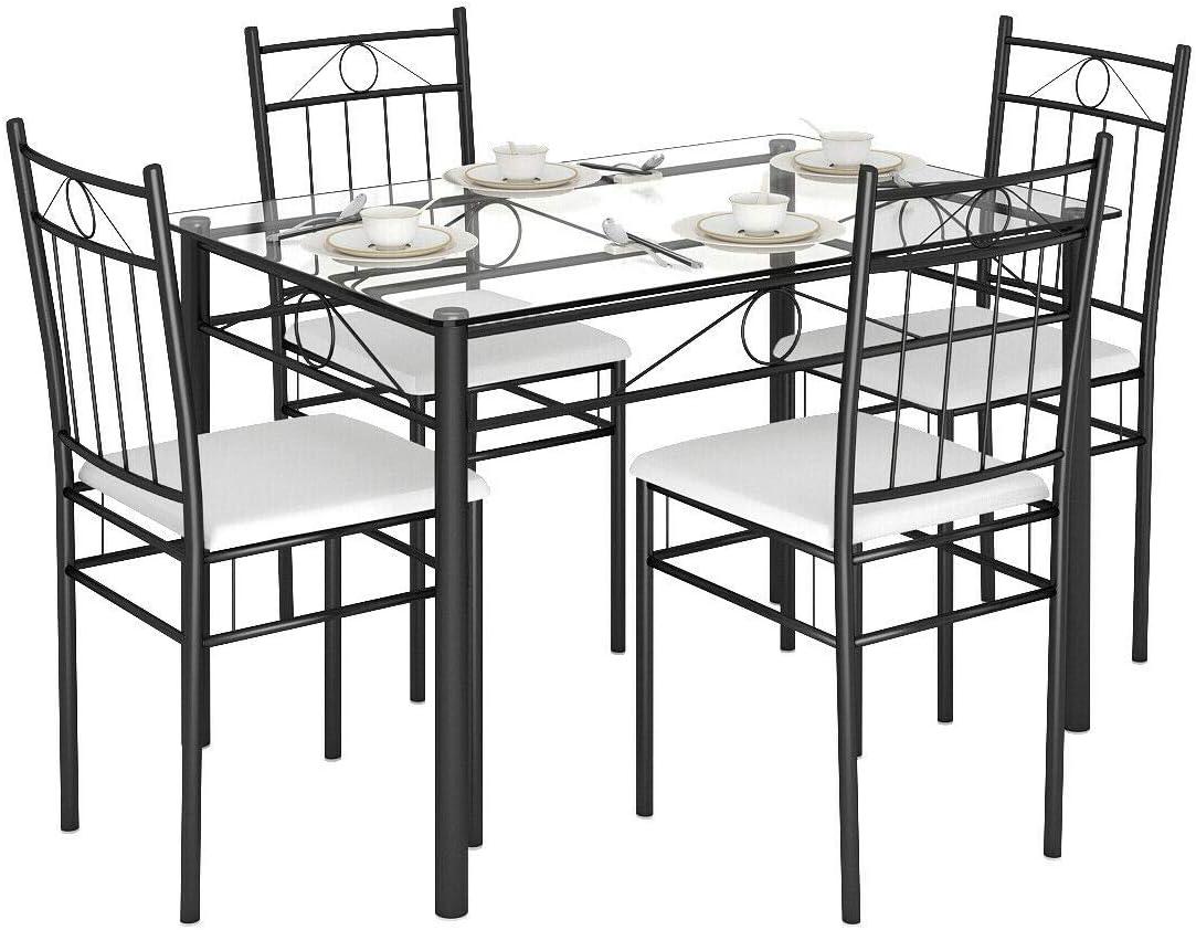 Buy Tangkula 9 Piece Dining Table Set Glass Top Metal Dining Set ...