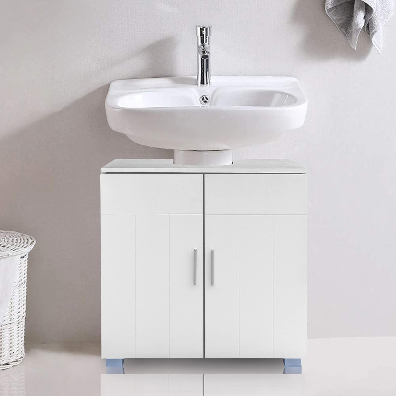 Buy Ssline Under Sink Vanity Cabinet Free Standing Bathroom Sink Cabinet With Pedestal Hole White Bath Storage Cupboard W Doors Shelves Space Saver Organizer B Type Online In Indonesia B093ld73ym