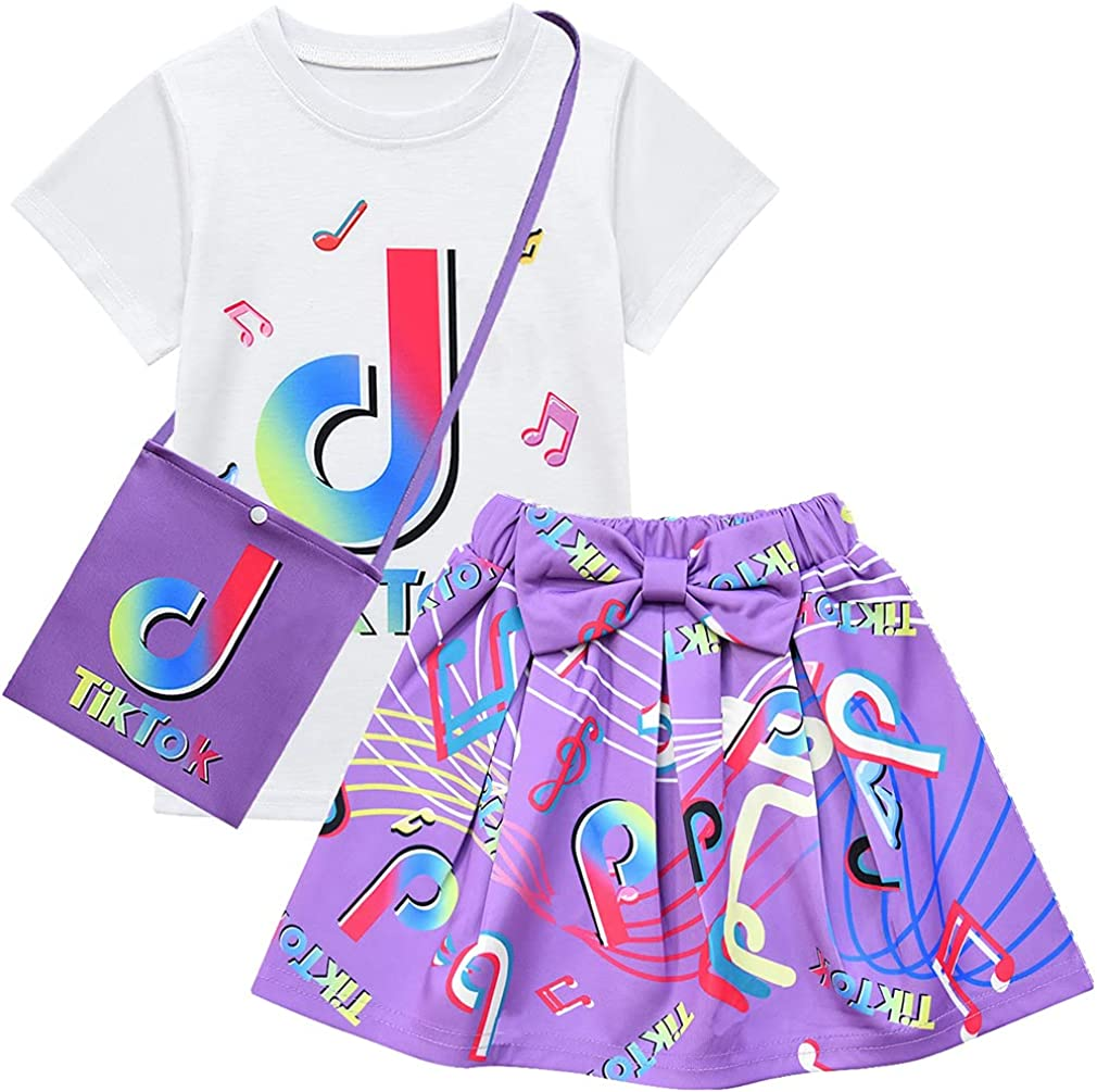 Buy D O T 3pcs Tiktok Girl Skirt Sets T Shirt Top Bowknot Skirt With Bag Outfits Online In Indonesia B08vn1q4t2