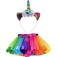 563be7ed5d LYLKD Little Girls Layered Rainbow Tutu Skirts with Unicorn Horn Headband