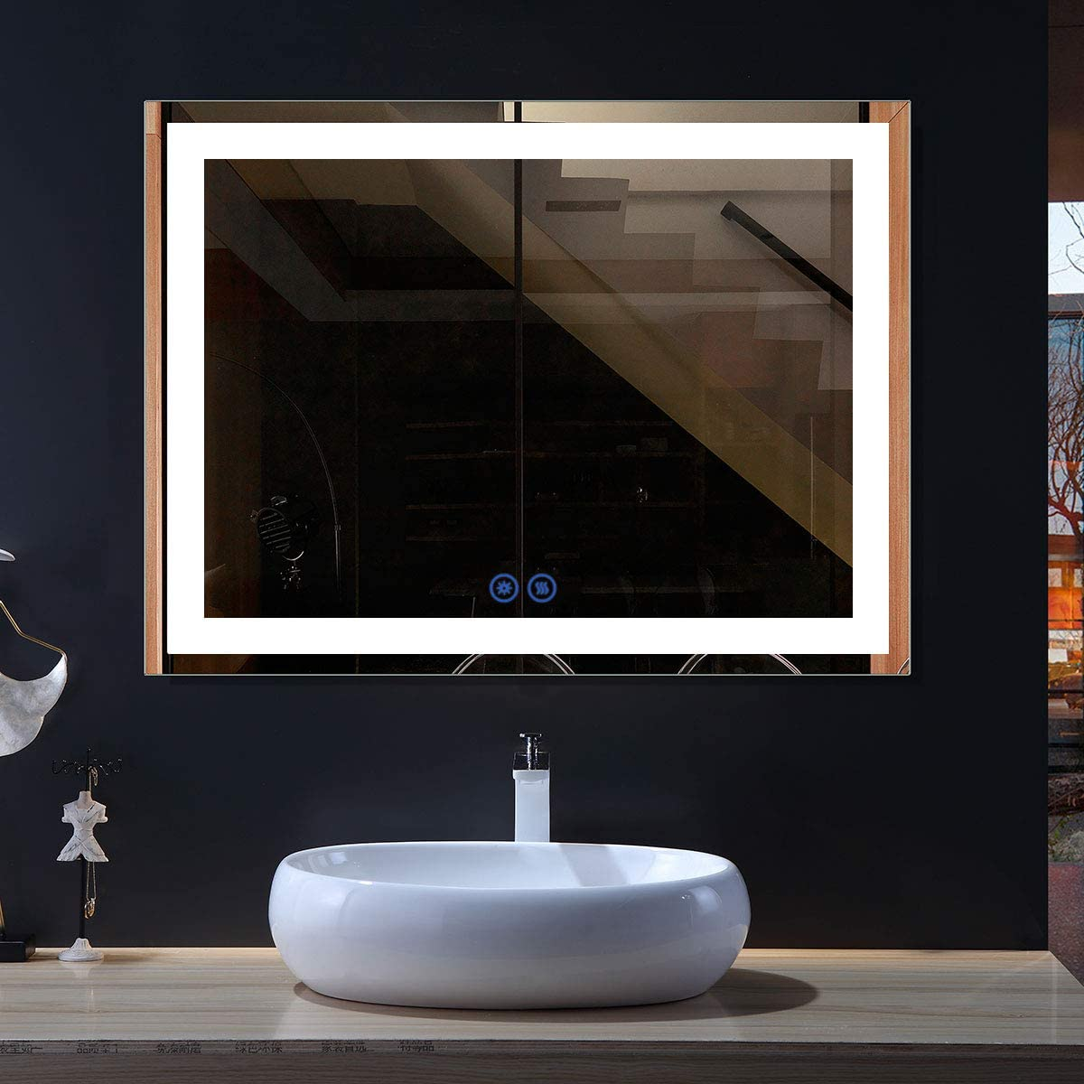 Dimmable 48x36 In Led Bathroom Mirror, Bathroom Mirror With Led Lights And Bluetooth