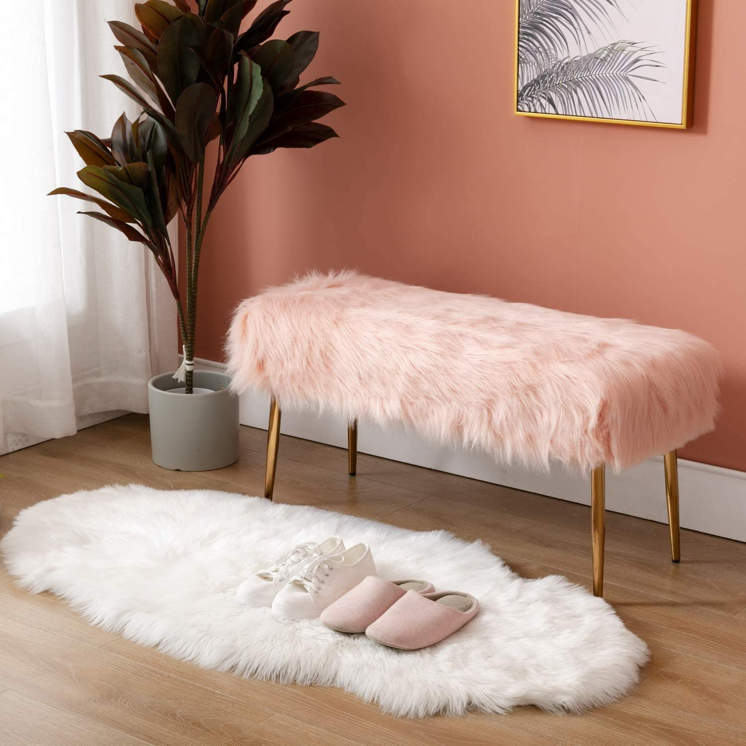 Cimoo Pink Faux Fur Ottoman Bench, Living Room Bench