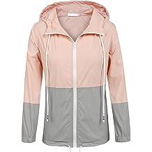 aaeb88a8e SoTeer Women's Waterproof Raincoat Outdoor Hooded Rain Jacket  Windbreaker (15 Colors