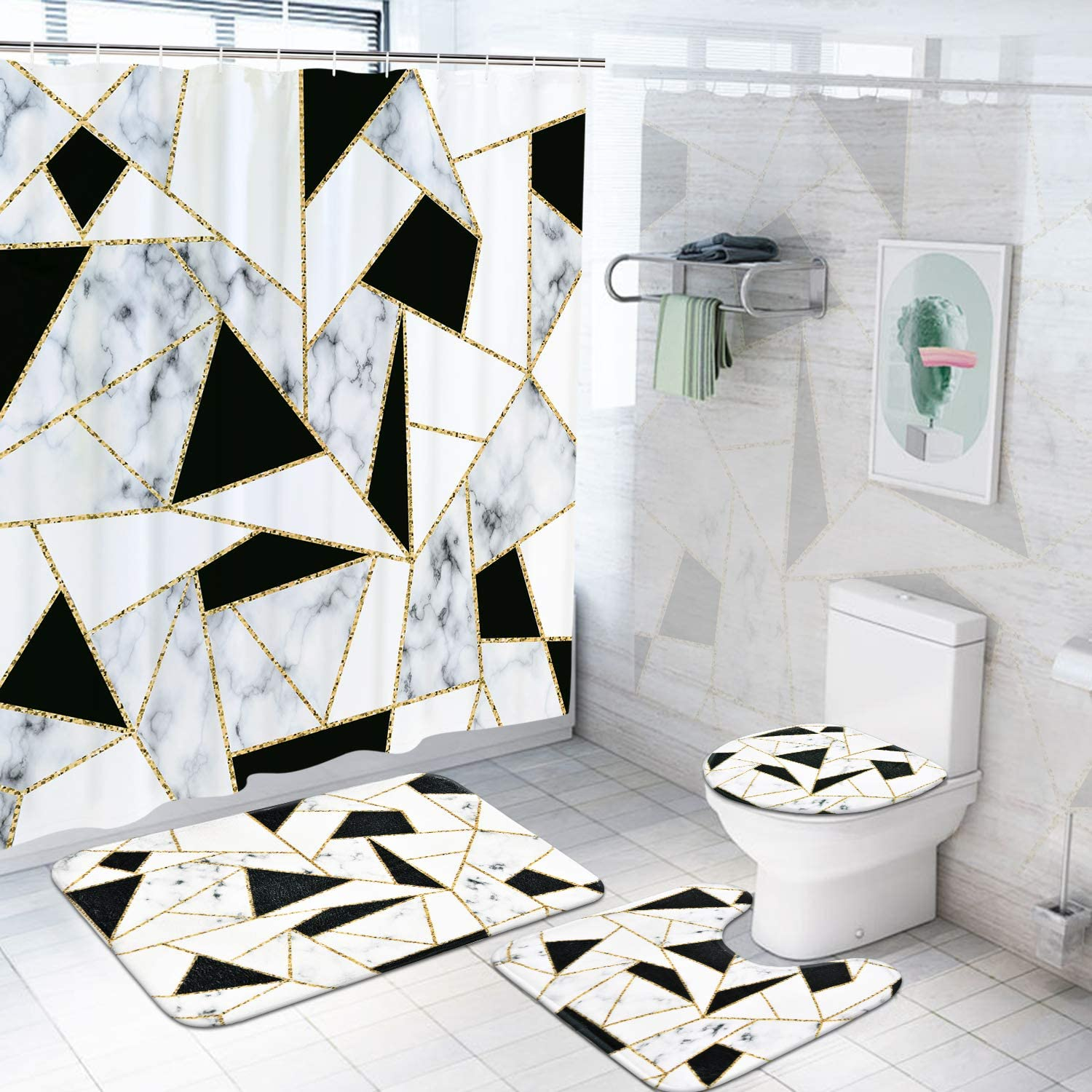 Rugs Toilet Lid Cover Bath Mat Black, Marble Bathroom Set With Shower Curtain