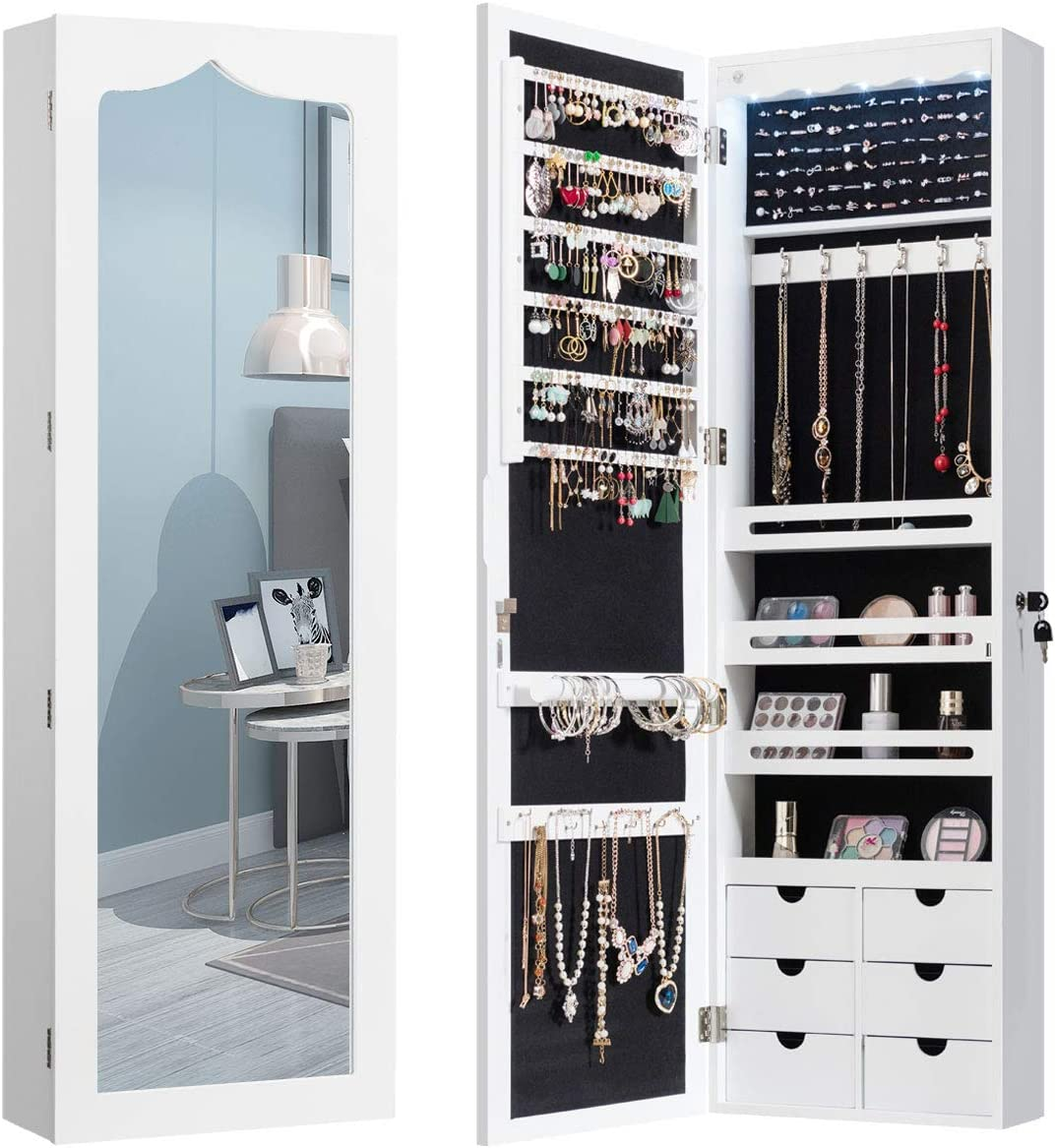 Buy CHARMAID 20 LEDs Mirror Jewelry Armoire Wall Door Mounted ...