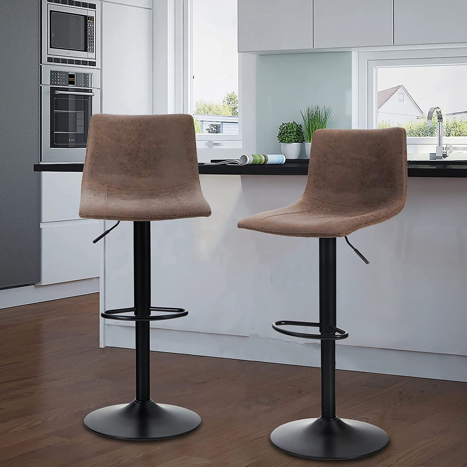 Maison Swivel Bar Stools Set of 9 for Kitchen Counter Adjustable Counter  Height Bar Chairs with Back Tall Barstools Faux Leather Kitchen Island ...
