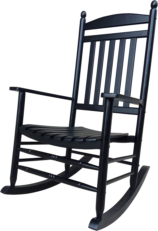 Black Porch Rocker Rocking Chair Easy, Outdoor Wood Slat Rocking Chair Black