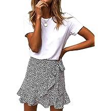 3fda62b8e Salamola Women's Leopard Asymmetrical Ruffles High Waist Printed Cute  Casual Mini Skirt