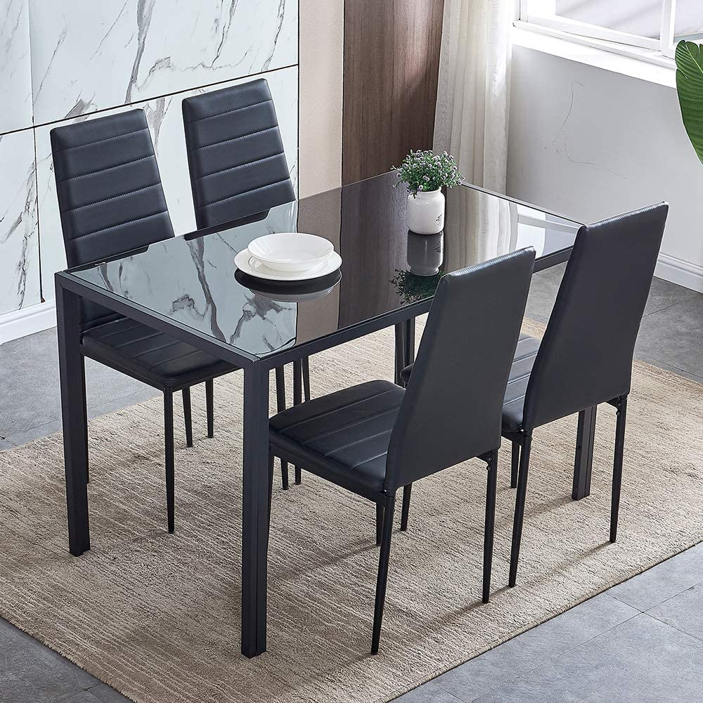 5 Piece Modern Black Dining Table, Small Black Kitchen Table And 2 Chairs