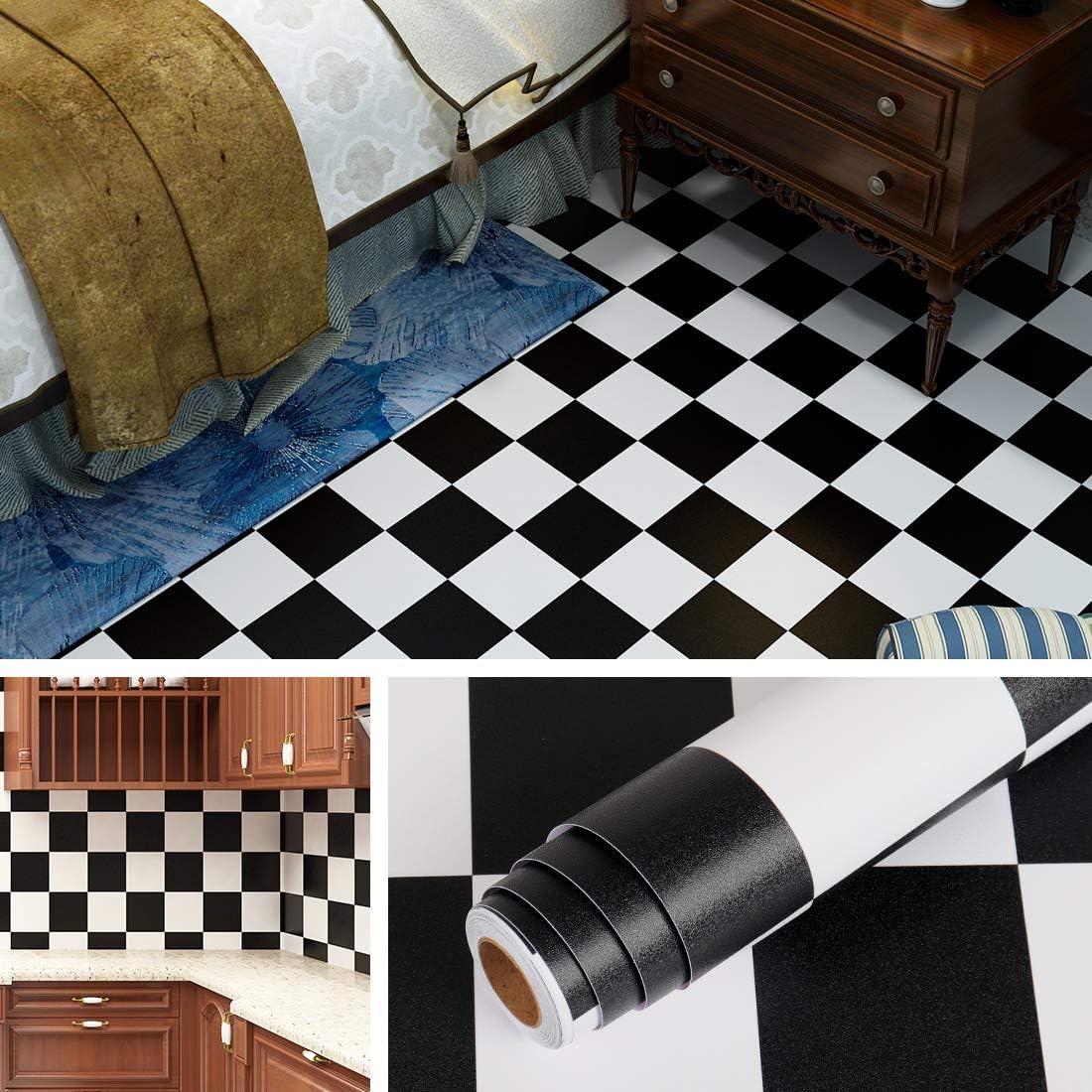 Livelynine Checkered Black and White Vinyl Flooring Roll 9.9x79.9 in  Waterproof Peel and Stick Floor Tile for Bedroom Kitchen Backsplash  Bathroom ...