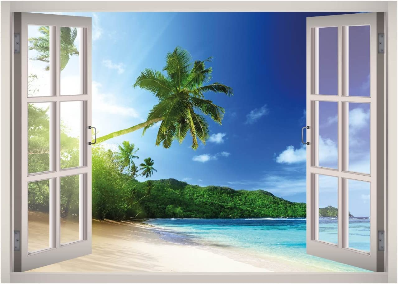 Buy West Mountain Tropical Beach View Window 3d Wall Decal Art Removable Wallpaper Mural Sticker Vinyl Home Decor W32 Large 49 W X 35 H Online In Indonesia B0761p3dfz