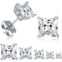 Pretty New White Gold Filled Clear White Round CZ Cubic Ball Set Stud Earrings