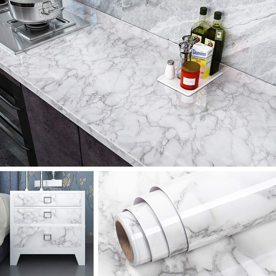 Buy Livelynine Marble Wallpaper Peel and Stick Countertops for ...