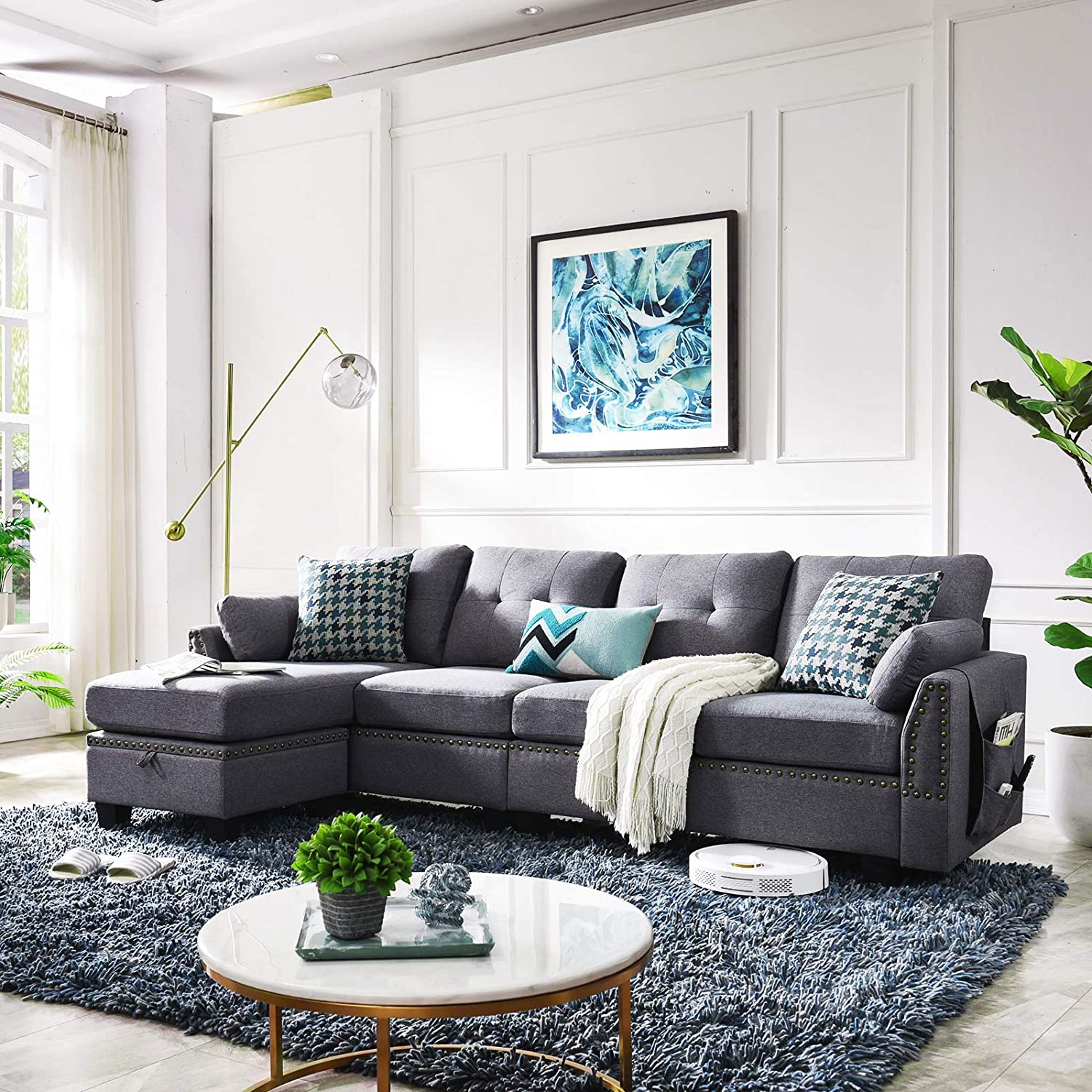 Living Room 4 Seat Sofas Sectional, Living Room L Shaped Sofa