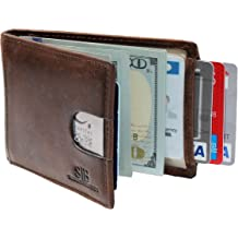 AuSion Slim Leather Business ID Credit Card Change Case Front Pocket Wallet for Women Men