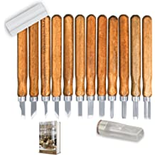 Newkiton Basswood Carving Block Blank Set with 12 Piece SK10 Carbon Steel Tools Premium Unfinished Wood Carving Whittling Kit for Kids Adults Beginner or Professianl