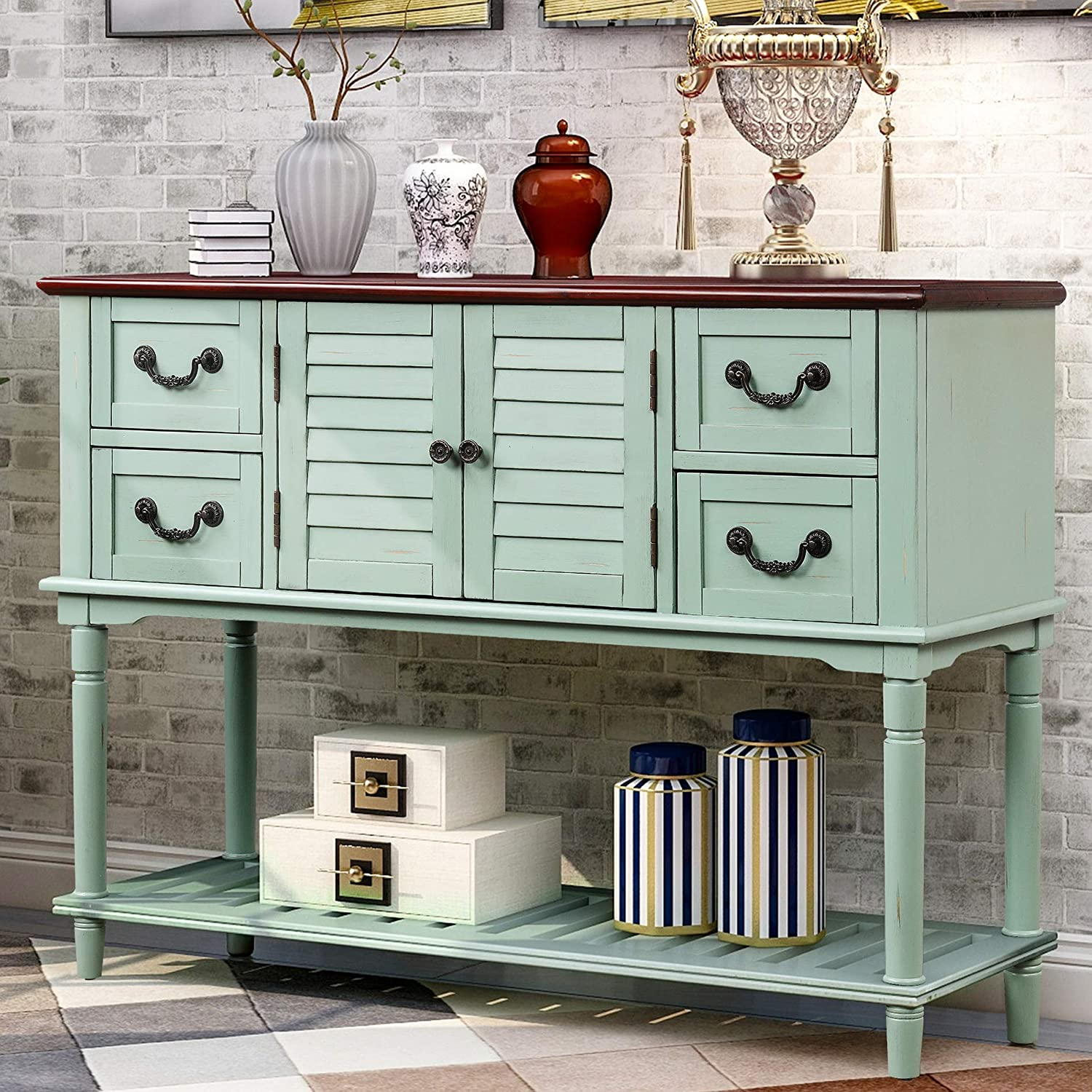 Merax Buffet Sideboard Console, Console Table With Storage Bins