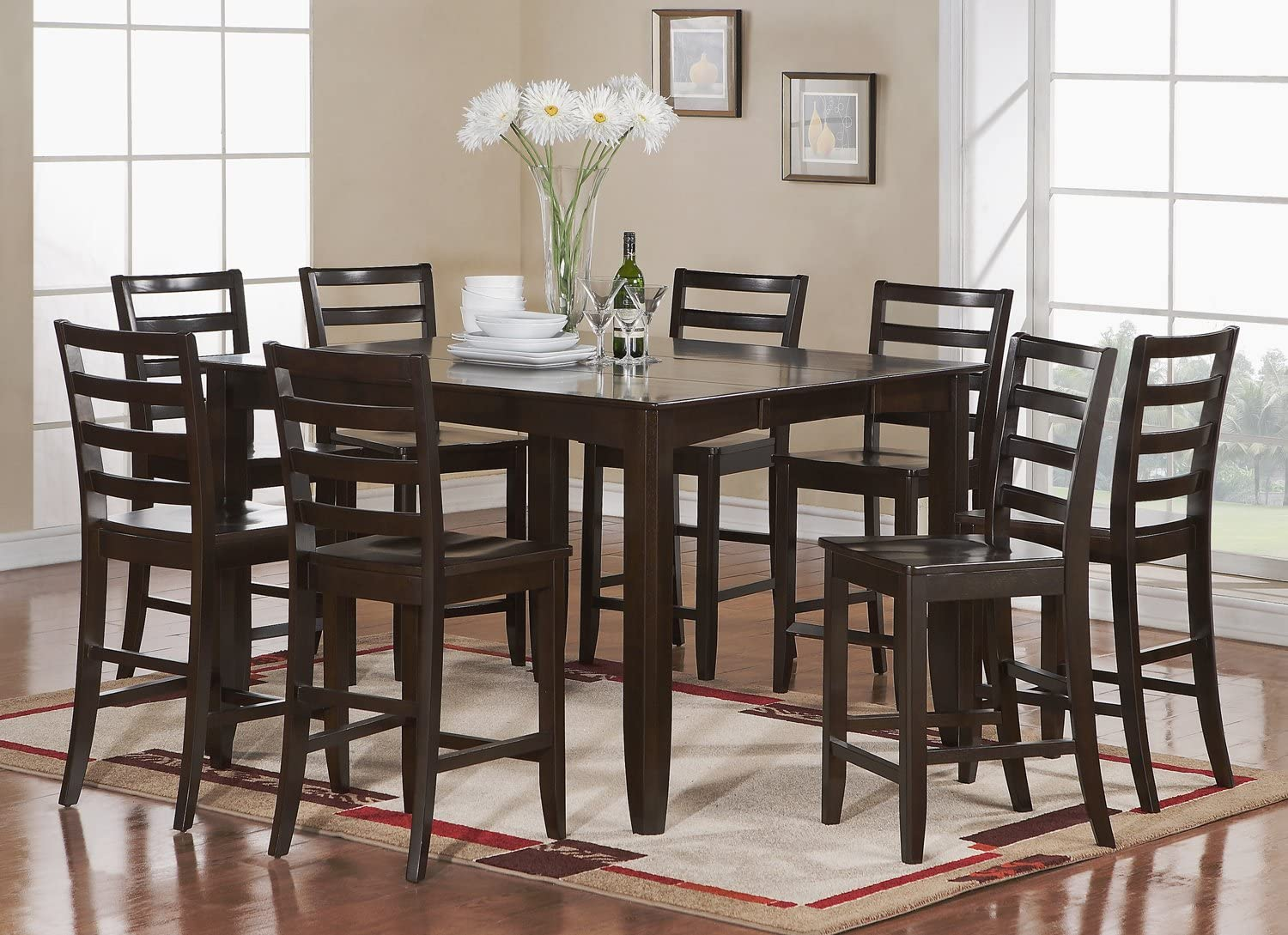 Buy 9 PC counter height set  Square Table plus 9 Kitchen counter ...
