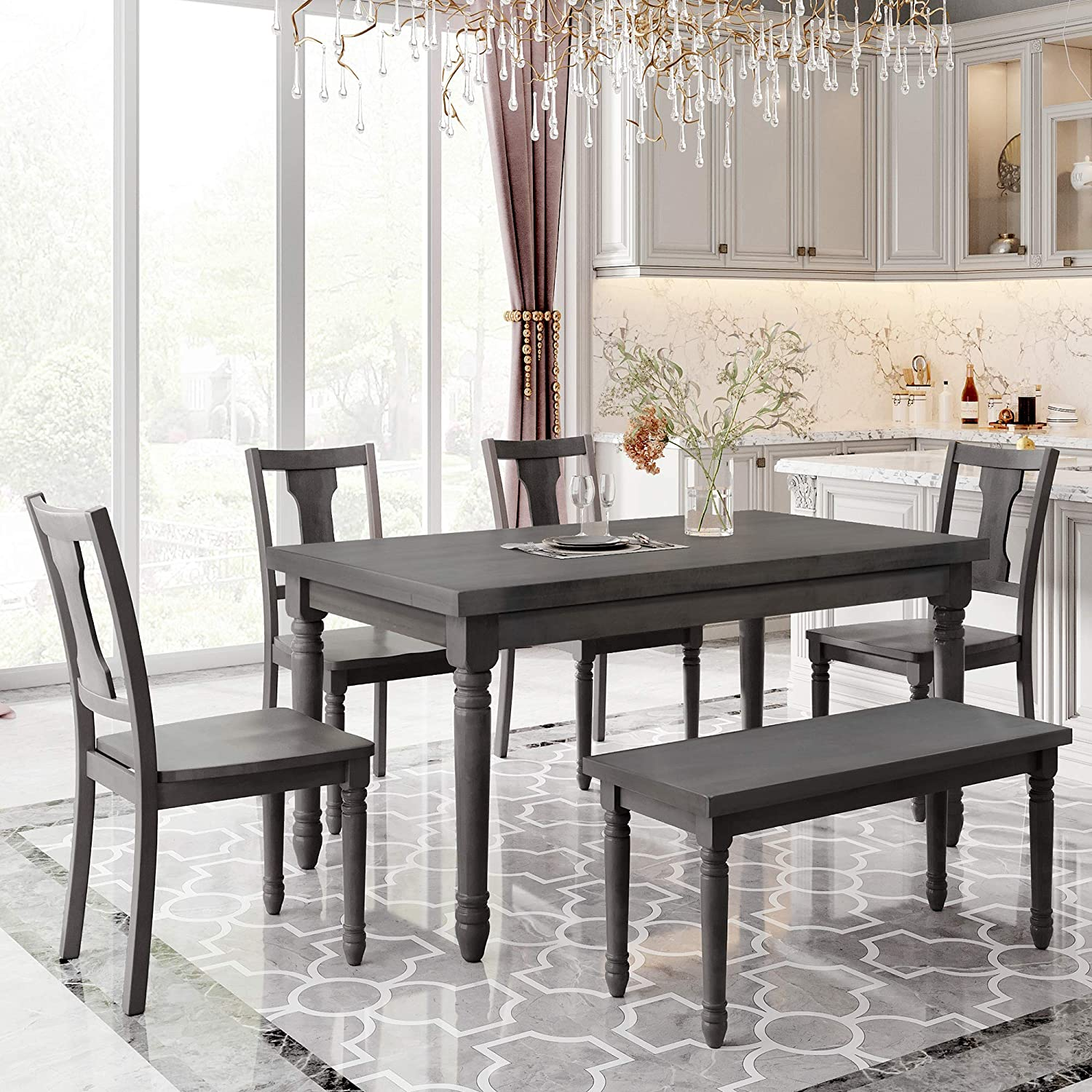 Maforob Wooden Set Table And 4 Chairs, Dining Room Table With 4 Chairs And A Bench