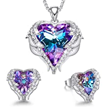 CDE Angel Wing Heart Necklaces and Earrings Embellished with Crystals from Swarovski 18K White Gold Plated