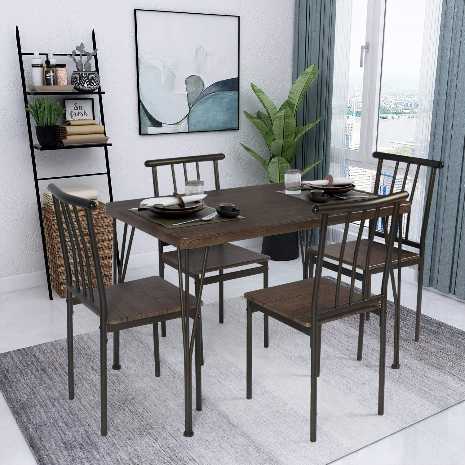 Buy OKL 9 Piece Dining Table Set Wooden Kitchen Table 9 Table 9 ...