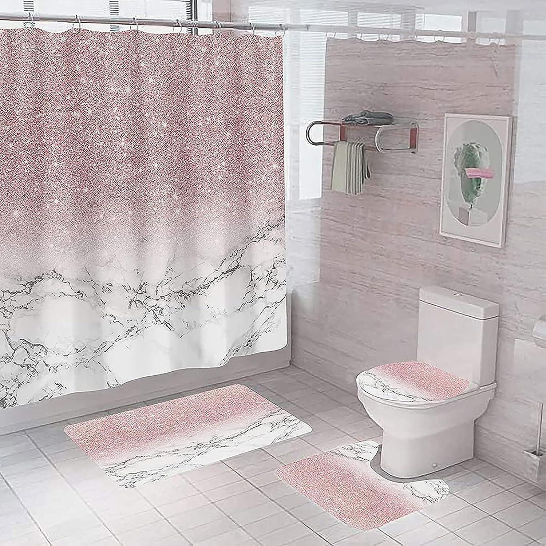 Bathroom Decor Set With 12 Hooks Toilet, Marble Bathroom Set With Shower Curtain