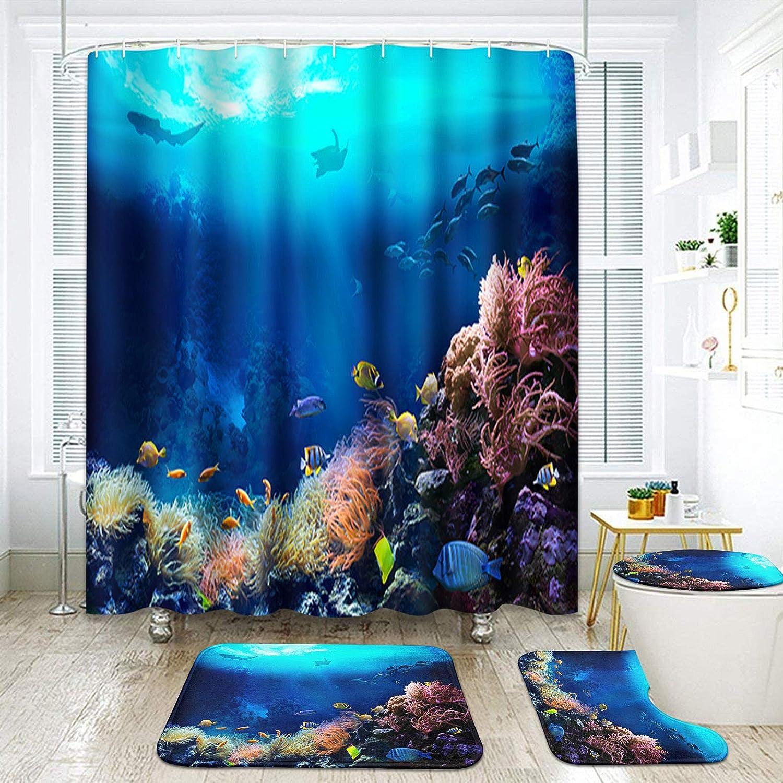 Artsocket 4 Pcs Shower Curtain Set, Fish Bathroom Set