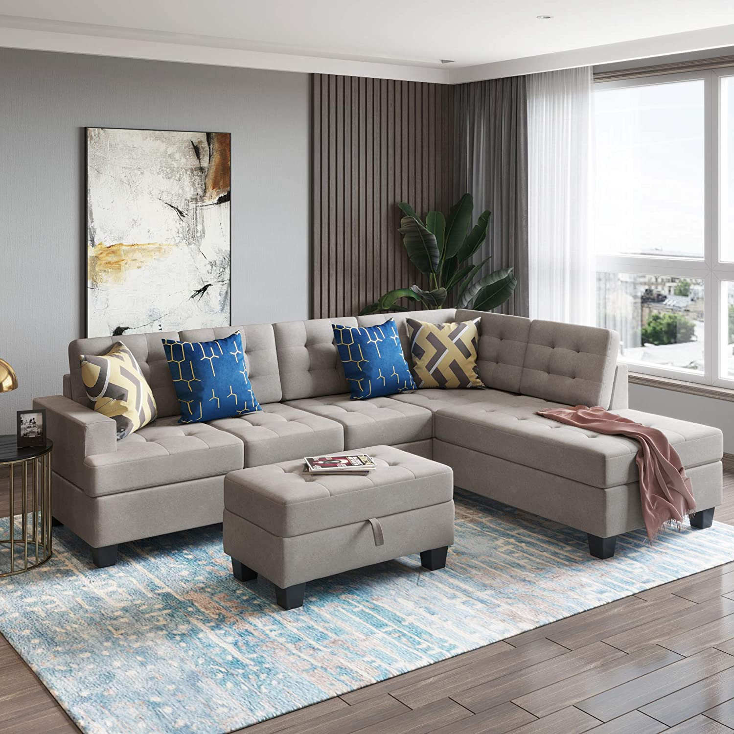 Merax Sectional Sofa Set With, Living Room Furniture Chaise Lounge