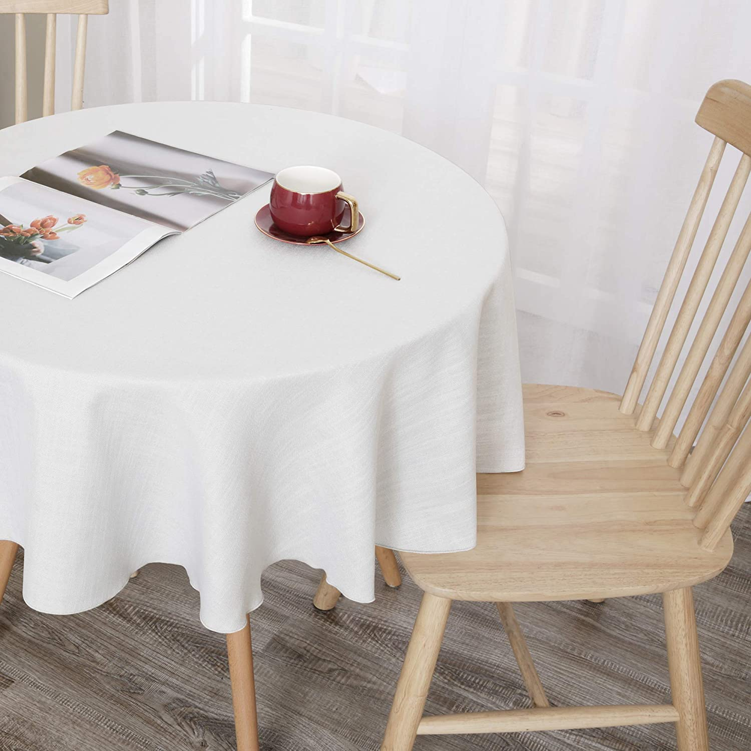 Buy Deconovo White Round Tablecloth Faux Linen Water Resistant ...