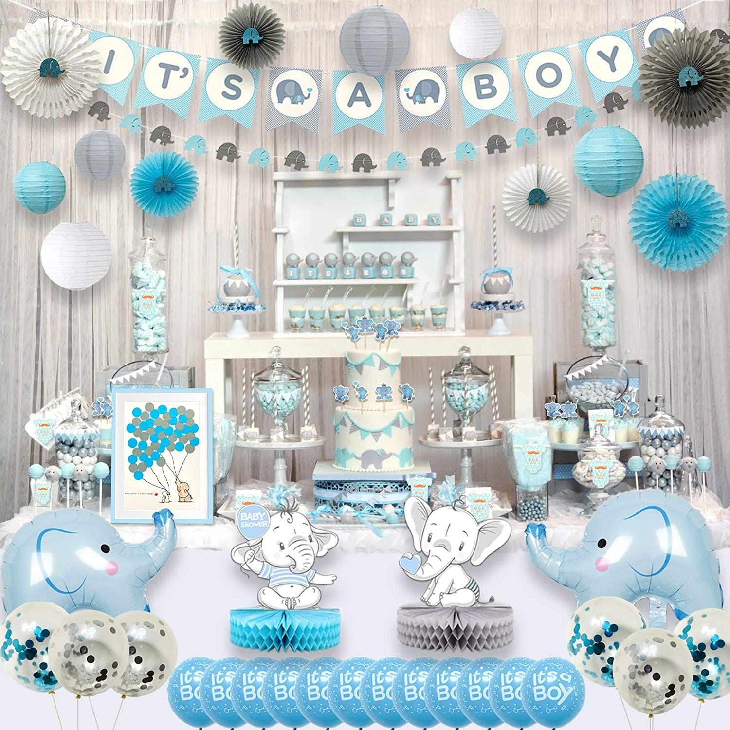 Buhloonz Blue Elephant Baby Shower Decorations for Boy Party Supplies Kit  with Guest Book It's a boy Banner Garland Paper Fans Lanterns Cake Toppers  ...