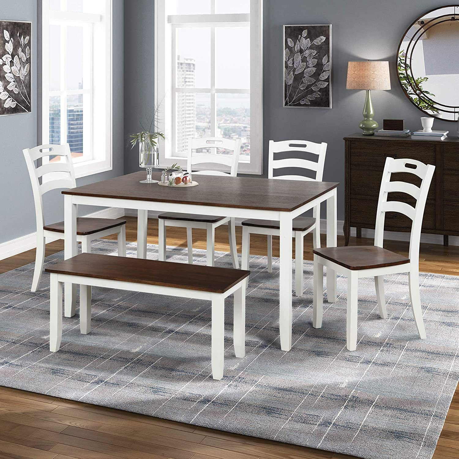 Merax Dining Table Sets 6 Piece, White And Wood Dining Room Sets