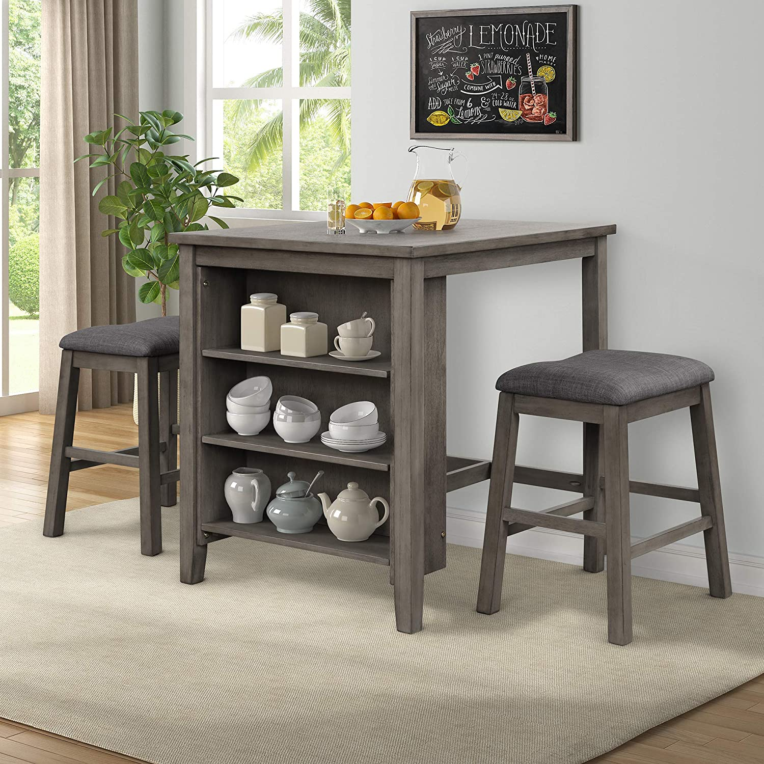 Bellemave 3 Piece Dining Table Set, Bar Height Kitchen Table And Chairs Set