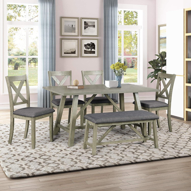 Harper Bright Designs 6 Piece, Gray Rustic Dining Room Set