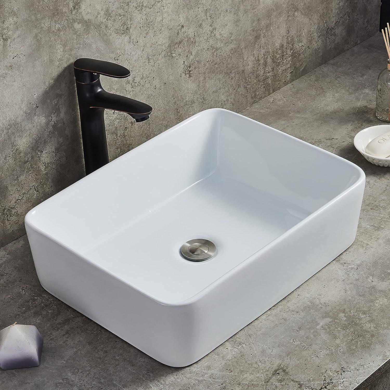 Buy Ufaucet 19x15 Modern Porcelain Above Counter White Ceramic Bathroom Vessel Sink,Art Basin Wash Basin for Lavatory Vanity Cabinet Online in Indonesia. B018RSED04